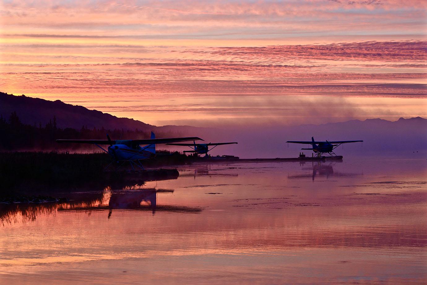 Seaplanes at sunrise