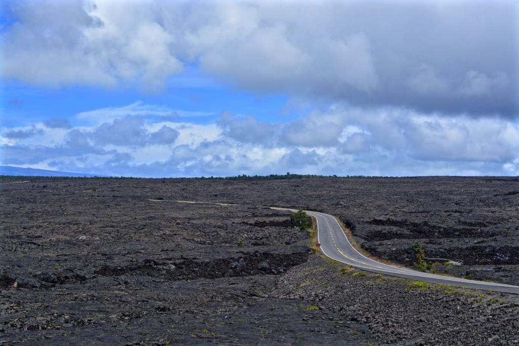 Street through a lava field