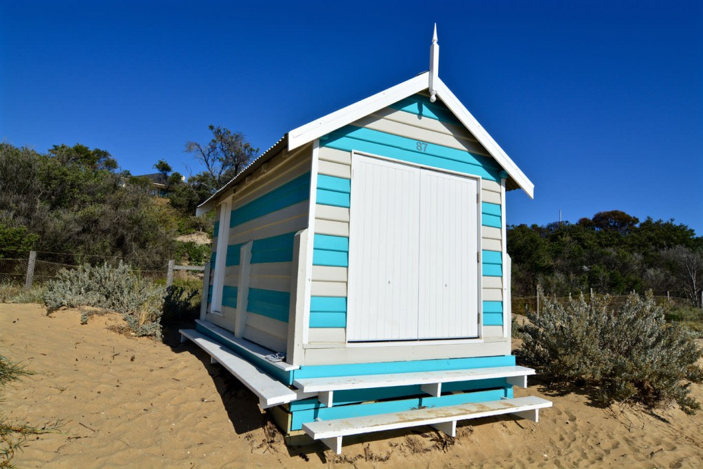 Blue and white bathing box