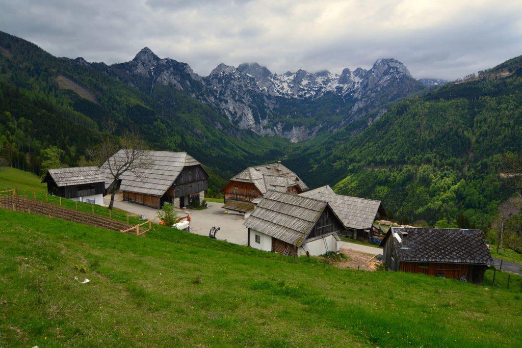 Farm, mountains, Logar Valley